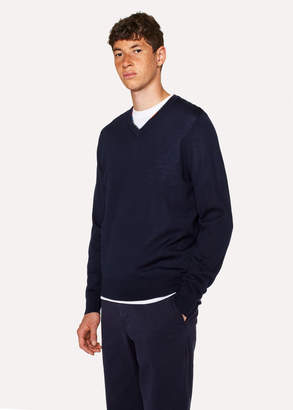 Paul Smith Men's Navy V-Neck Sweater With Contrast Detail