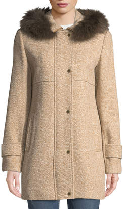 Ellen Tracy Fox-Fur Hooded Tweed Coat