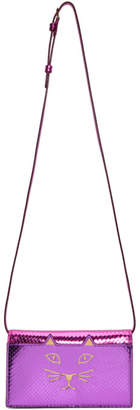 Charlotte Olympia Purple Snake Feline Shoulder Bag