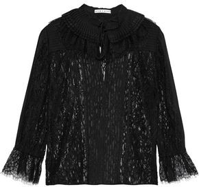 Alice + Olivia Pauletta Pintucked Chiffon And Corded Lace Blouse