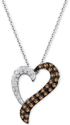 "LeVian Le Vian Chocolatier Diamond Heart 18"" Pendant Necklace (1/3 ct. t.w.) in 14k White Gold"