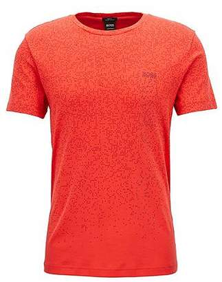 HUGO BOSS Slim-fit cotton T-shirt with pixelated pattern
