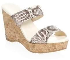 Jimmy Choo Embossed Wedge Platform Sandals