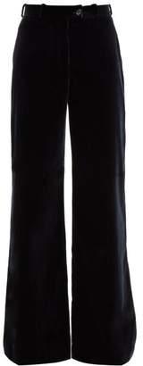 Acne Studios Wide Leg Velvet Trousers - Womens - Navy