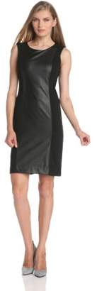 Anne Klein Women's Faux-Leather Panel Sheath Dress