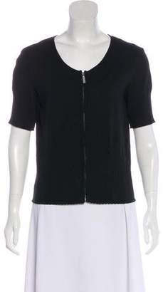 Chanel Short Sleeve Zip-Up Cardigan