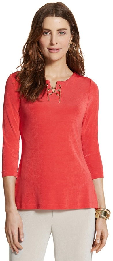 Chico's Travelers Classic Watermelon Fizz Lace Up Top