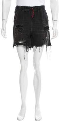 Alexander Wang Denim x Distressed Denim Shorts