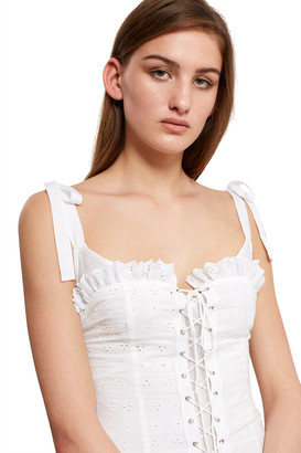 Daisy Broderie Lace-Up Corset Dress