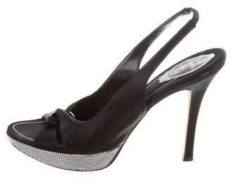 Rene Caovilla Embellished Satin Slingback Sandals