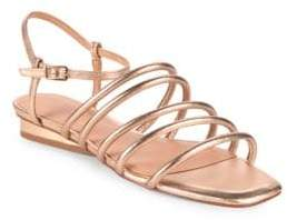 Halston Leandra Metallic Leather Ankle Strap Sandals