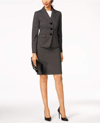 Le Suit Jacquard-Dot Skirt Suit