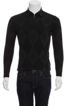 Versace Vintage Chevron Argyle Zip-Up Sweater