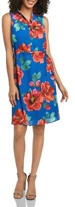 Foxcroft Floral-Print Drawstring Shirt Dress