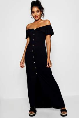 boohoo Off The Shoulder Button Front Maxi Dress