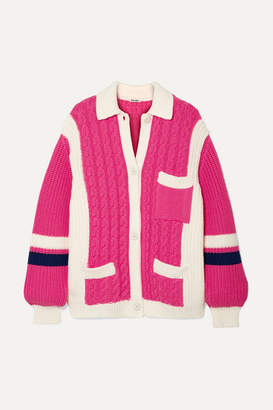 Miu Miu Oversized Cable-knit Wool Cardigan - Pink