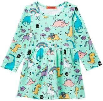 Funkyberry Dinosaur & Unicorn Print Dress (Toddler & Little Girls)
