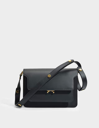 Marni Medium Trunk Bag in Black Matte Calfskin