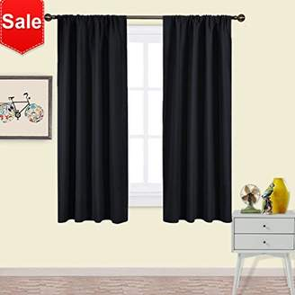 NICETOWN Black Blackout Curtain Blinds - Solid Thermal Insulated Window Treatment Blackout Drapes/Draperies for Bedroom (2 Panels