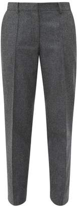 Officine Generale Roxane Felted Wool Tapered Trousers - Womens - Grey