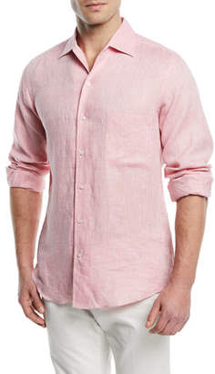 Loro Piana Andrew Long-Sleeve Linen Shirt