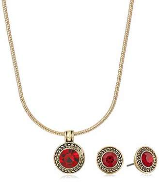 Napier Red Pendant Stud Necklace and Earrings Set