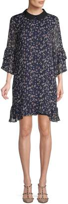 CeCe Floral Ruffled Shift Dress