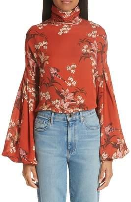 Johanna Ortiz Recoleta Puff Sleeve Silk Blouse