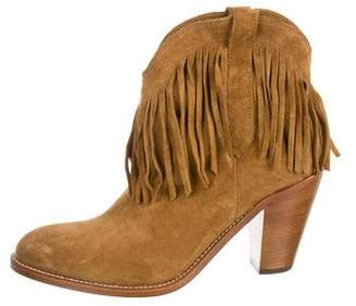 Saint Laurent Suede Fringe Ankle Boots w/ Tags