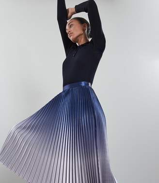 Reiss Anna - Metallic Ombre Pleated Midi Skirt in Blue