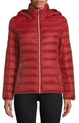 "MICHAEL Michael Kors THE COAT EDIT 25"" Short Packable Burnt Red Jacket"