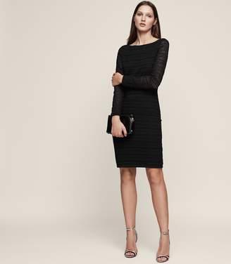 Reiss DENISE CROCHET BODYCON DRESS Black