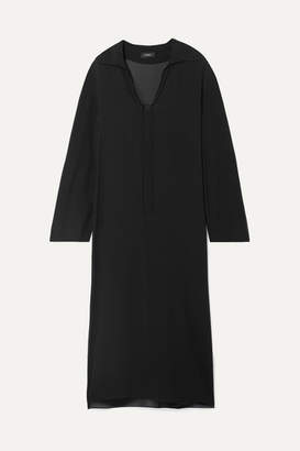 Theory Sailor Oversized Silk Crepe De Chine Maxi Dress - Black