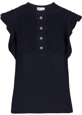RED Valentino Paneled Ruffle-Trimmed Button-Embellished Knitted Top