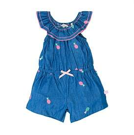 Fox & Finch Maui Pineapple Embroidered Denim Playsuit(3-24Months)