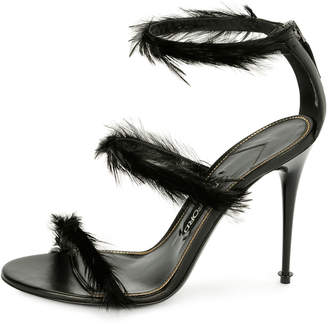 Tom Ford Strappy Sandal with Feather Trim