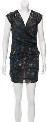 IRO Watercolor Print Draped Dress