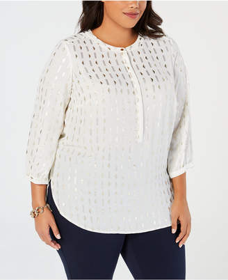 JM Collection Plus Size Foil-Print Top, Created for Macy's