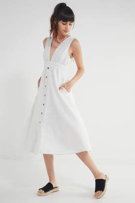 Urban Outfitters Millie Plunging Linen Midi Dress