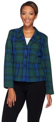 Joan Rivers Classics Collection Joan Rivers Tartan Plaid Blazer w/ Long Sleeves