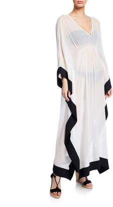 Chiara Boni Naia Silk V-Neck Long Caftan Coverup