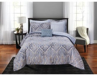 Mainstays Art Deco Damask Bed in a Bag Coordinating Bedding Set
