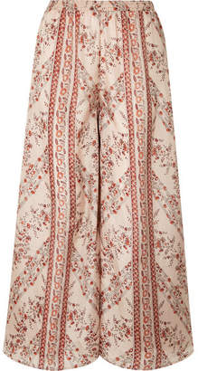 Mes Demoiselles Bogdan Printed Washed-silk Wide-leg Pants