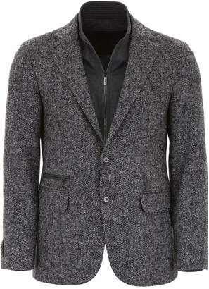 Corneliani Cc Collection CC Collection Herringbone Blazer With Plastron