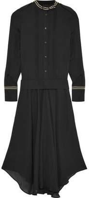 Belstaff Mareena Lamé-Trimmed Pleated Silk-Chiffon Midi Dress