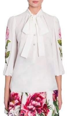 Dolce & Gabbana Tie Neck Floral Applique Silk Blouse