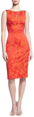 Zac Posen Floral Jacquard Keyhole Sheath Dress, Coral/Orange