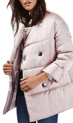 Women's Topshop Satin Puffer Jacket $210 thestylecure.com