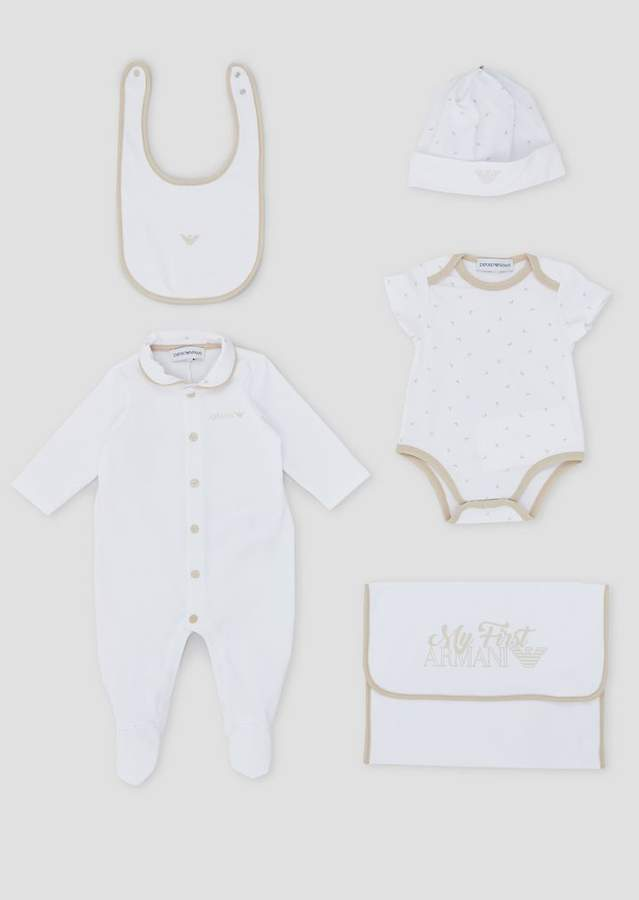 Emporio Armani Gift Set In Pure Cotton With A Romper, All-In-One, Hat And Bib