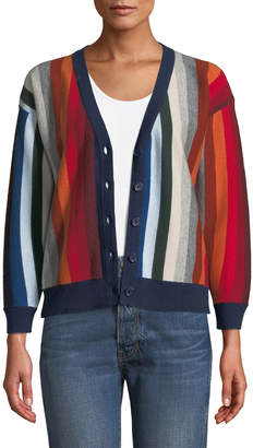The Great The Co-Ed Striped Wool-Blend Cardigan